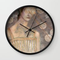 dress Wall Clocks featuring Pink Dress by Hinterland Girl