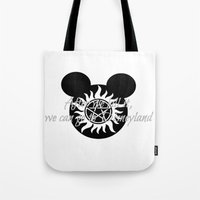 supernatural Tote Bags featuring Supernatural by kltj11