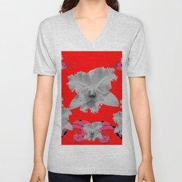 MODERN ART RED ART NOUVEAU WHITE ORCHIDS ART Unisex V-Neck