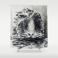 guinea pig Shower Curtains featuring Charcoal Guinea Pig by Miss emZ