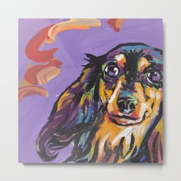 Longhaired Dachshund Fun Dog Portrait bright colorful Pop Art Painting by LEA Metal Print