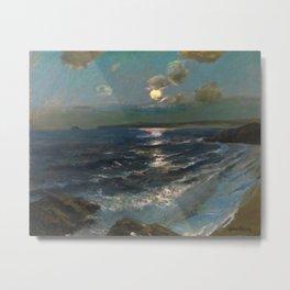 Twilight Moon coastal nautical landscape painting by Julius Olsson Metal Print