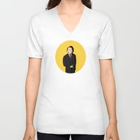 tintin V-neck T-shirts featuring Tintin style Mycroft by thediogenes