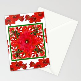 RED AMARYLLIS FLOWERS & HOLIDAY CANDY CANE FLORAL ART Stationery Cards