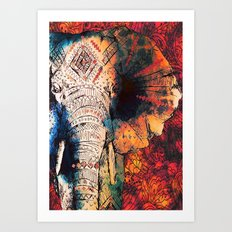 Indian Sketched Elephant Art Print