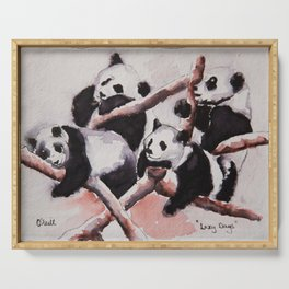 Lazy days Panda's by Machale O'Neill Serving Tray