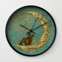 justin timberlake Wall Clocks featuring Moon Travel by Eric Fan