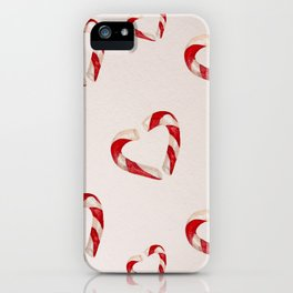 christmas candy watercolor pattern iPhone Case