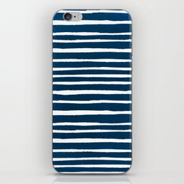 Geometrical navy blue white watercolor stripes iPhone Skin