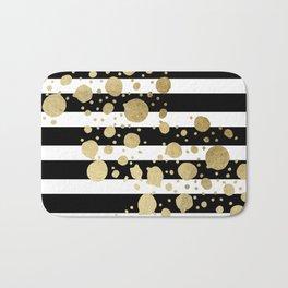 Faux Gold Paint Splatter on Black & White Stripes Bath Mat