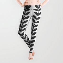 Dark Grey Scandinavian leaves pattern Leggings