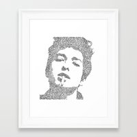bob dylan Framed Art Prints featuring Bob Dylan by S. L. Fina