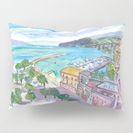 Sorrento with Harbour and View of Cliffs and Vesuviús Pillow Sham