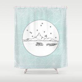 Bora Bora Island, French Polynesia Skyline Illustration Drawing Shower Curtain