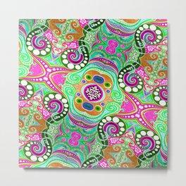 Pink & Green Diagonal Metal Print