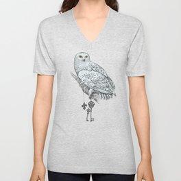 Secrets of the Snowy Owl Unisex V-Neck