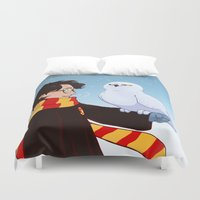 hedwig Duvet Covers featuring Harry and Hedwig by AnimonInk