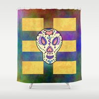 sugar skull Shower Curtains featuring Sugar Skull by Linda Tomei