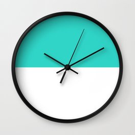 White and Turquoise Horizontal Halves Wall Clock