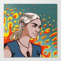 targaryen Canvas Prints featuring Daenerys Targaryen by Paucibet