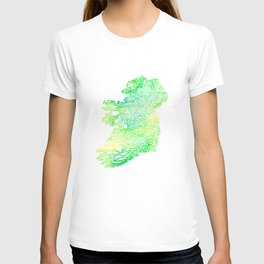 Typographic Ireland - Green Watercolor map T-shirt