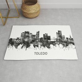 Toledo Ohio Skyline BW Rug