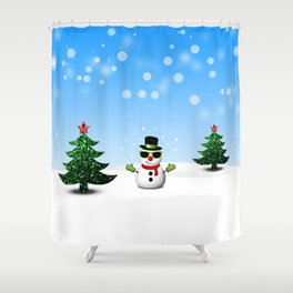 Cool Snowman and Sparkly Christmas Trees Shower Curtain