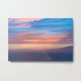 Blue Dreams Sunset - Ocean Sunset, Landscape, Scenery, Beautiful Orange Yellow Metal Print