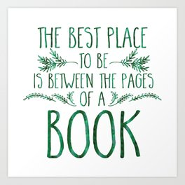 Between the Pages (Green Watercolour) Art Print