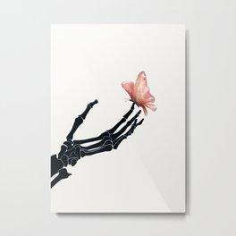 Butterfly on Skeleton Hand Metal Print