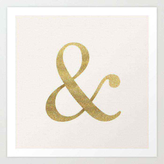 Gold Glitter Ampersand Art Print