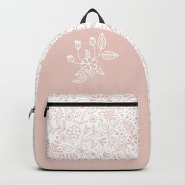 Floral Pattern Pink on White Backpack