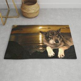 Dog German Shepherd and Sunset Rug