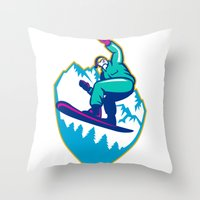 snowboard Throw Pillows featuring Snowboarder Holding Snowboard Alps Retro by patrimonio