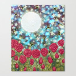 the moon, stars, fireflies, & roses Canvas Print