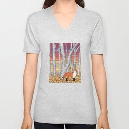 nuthatches and fox in the birch forest Unisex V-Neck