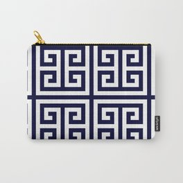 Greek Key Patten White And Navy Blue Carry-All Pouch