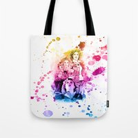 river song Tote Bags featuring River Song Watercolor Mixed Media Digital Painting by Purshue