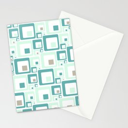 Retro Squares Mid Century Modern Background Stationery Cards