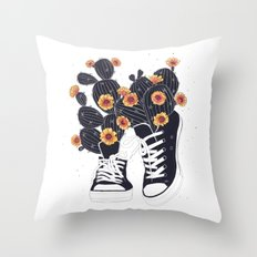Sneakers with cactus Throw Pillow