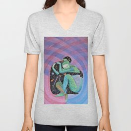 Space Earth Love Painting Nature Soul Mates Couple Wedding Art Tapestry (Infinite Love) Unisex V-Neck