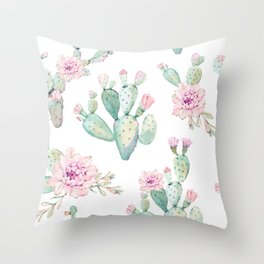 Simply Cactus Rose Throw Pillow