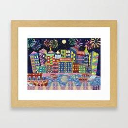 Hong Kong By Night Framed Art Print