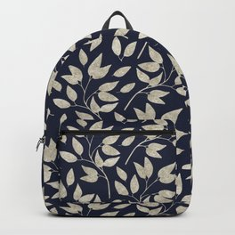 Abstract Silver leaves Navy Blue Inspiring Words Typography Backpack