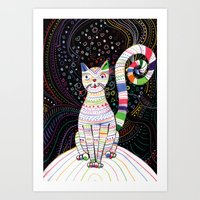 space cat Art Prints featuring Space cat by ezgi karaata
