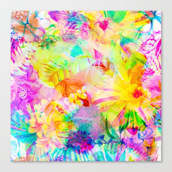 flowers pink yellow Canvas Print
