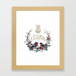 Winter Bullfinch Scene Gold Glitter Merry Christmas Framed Art Print