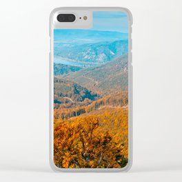 Autumn or fall forest view in the mountains, deciduous forest landscape Clear iPhone Case