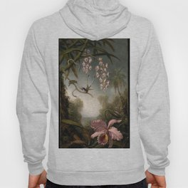 Orchids And Spray Orchids With Hummingbird 1890 By Martin Johnson Heade | Reproduction Hoody