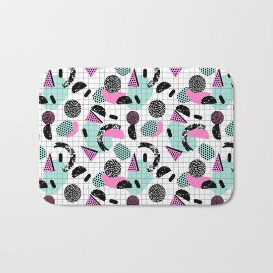 Joshin - memphis throwback retro pop art geoemetric pattern print unique trendy gifts dorm college Bath Mat